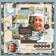 Digital scrapbook layout idea for my husband. I really wanted a male theme kit to create layouts for a male theme, and here's my thoughts! ELS - Manpants Collection from Nitwit Collections™ #digitalscrapbooking