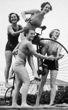 1930s fun. Look at that bicycle and those swimsuits! #pennyfarthing #bike #vintage