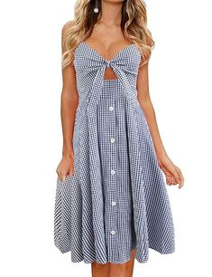 2d14e0b8780 FANCYINN Womens Floral Prints Tie Front Button Down Spaghetti Strap Midi  Dress