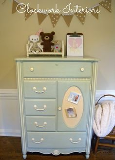 A child's Stanley Furniture cabinet was given a fresh update with Sweet Pickens'…
