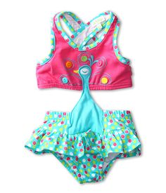 "Peacock motifs are popular (and cute!) for little girls this spring! This adorable ""monokini"" is from #le top"