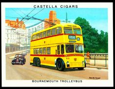 "Wills's Castella Cigars ""Britain's Motoring History"" (set of 30 issued in Bournemouth Trolleybus, 1933 First Color Photograph, Retro Illustrations, Bournemouth, Vintage Ads, Buses, Cigars, Britain, Transportation, England"