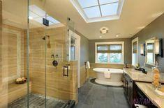 Image result for bathroom slate floor travertine wall wazlam