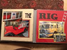 """8 x 8 scrapbook firetruck....see my board """"Firemen Scrapbook"""" for more like this"""