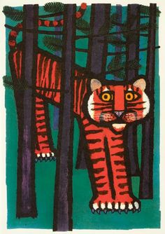 Celestino Piatti illustration for Der goldene Apfel Eine Geschichte 1970 Ive just realised why the series of Celestino Piatti pictures Ive been pinning have struck. Tiger Illustration, Arte Cyberpunk, Tiger Art, You Draw, Cat Art, Art Lessons, Art For Kids, Design Art, Creations