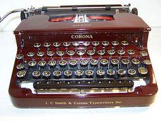 Antique 1934 Maroon (Red) Smith Corona Silent Portable Vintage Typewriter