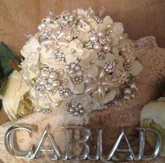Ivory Hydrangea Bridal Vintage Styled Everlasting Brooch Diamante Pearl via Etsy