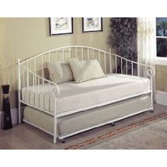 Kings Brand White Metal Daybed With Trundle Slats Daybeds Futons