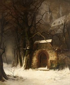 View of a Church-Yard Entrance in Winter - Edmund Koken, 1862 Fantasy Landscape, Winter Landscape, Landscape Art, Landscape Paintings, Fantasy Art, Classic Paintings, Beautiful Paintings, Illustration Art, Illustrations