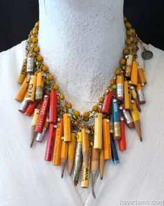 Kay Adams Pencil Necklace. Anthill Antiques, Jewelry, Necklace and Chandelier Heaven. pencil me in. all tips sealed. perfect school teacher or student exam, graduation or phd gift  #gottagettakay