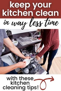 Find out why it is taking you so long to clean your kitchen. Use these kitchen cleaning tips and hacks to make cleanup faster and easier! #kitchencleaningtips #cleankitchenfast #frugalminimalistkitchen Cleaning Day, Cleaning Hacks, Sweep The Floor, Declutter Your Life, Butcher Block Countertops, Natural Cleaners, Minimalist Kitchen, Small Appliances, Clean Up