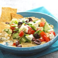 APP - Layered Greek Dip - Doesn't that look good for a snack on the porch?