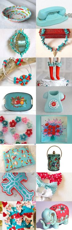 Because They Make Me Happy by Victoria on Etsy-- #etsy #treasury #red #turquoise #aqua #basket #bowl @necklace  Pinned with TreasuryPin.com