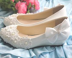 White lace satin bow pearl flower wedge Wedding flat shoes B...