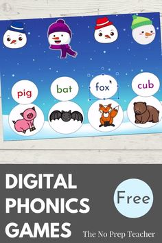 Looking for a free digital activity for your kindergarten, first grade, or second grade students? This build a snowman game is perfect for phonics or word work practice! Focus on beginning sounds, cvc words, or ing endings depending on the reading levels of your kids. Drag and drop the pieces to build a snowman. Perfect for teaching online during distance learning. Students can complete independently as a digital literacy center. Elementary reading instruction made easy, simple, and fun!