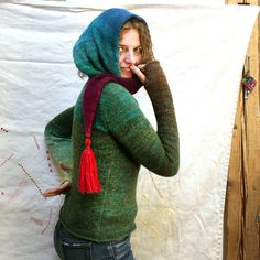 Rainforest - S/M tassel scarf tunic sweater in kid mohair, wool and silk. $150.00, via Etsy.