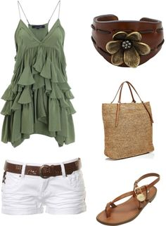 Cute summer outfit : Green Ruffle Tank top, White shorts with brown belt.  Tan Purse & Sandals.