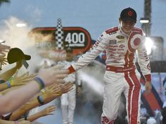 Kyle Larson during driver introductions for the Coke