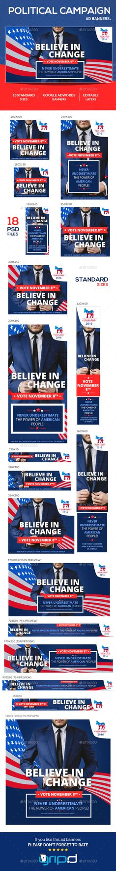 Political Campaign Banner Ads  — PSD Template #promotion #political campaign • Download ➝ https://graphicriver.net/item/political-campaign-banner-ads/18219294?ref=pxcr