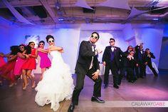 Seven-Degrees Destination Wedding Laguna Beach | wedding party | bridesmaids | groomsmen | hot pink dress | bride and groom |