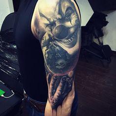 http://tattooideas247.com/clown-sleeve/ Clown Sleeve #ARM, #Clown, #Horror…