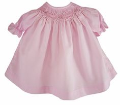 """Pale Pink Smocked Dress for 15"""" BITTY BABY + TWINS Dolls EMBROIDERED FLOWERS #Rosalina"""