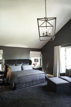 Best Charcoal Grey Bedrooms Ideas With Pendant Lighting Also Glass Windows And White Curtain For Modern Black And Grey Room