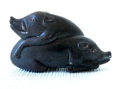 Early 19th Century Pair of Wild Boar Netsuke Carved Wood.