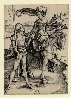 Albrecht Durer - lady on horseback with a landsquenet standing next to the horse. c.1497 Engraving