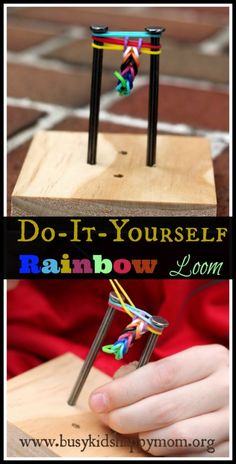 DIY Rainbow Loom - with two nails! Busy Kids=Happy Mom this looks way fun Camping Crafts, Fun Crafts, Arts And Crafts, Summer Crafts, Rubber Band Crafts, Rubber Bands, Rainbow Loom Bracelets Easy, Diy For Kids, Crafts For Kids