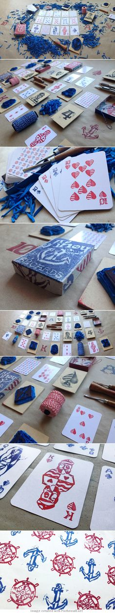 Nautical playing cards decked out with abstract illustrations