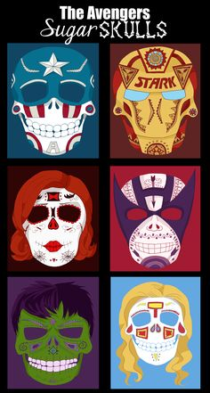 Sugar skull versions of all the Avengers. By Teacup-Letters on deviantART.