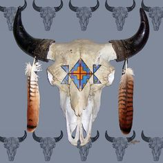 I found this on the internet, but my buffalo skull that I painted is very similar. I will add a photo of it.    southwest art prints | see this artwork on prints posters framed prints canvas art prints