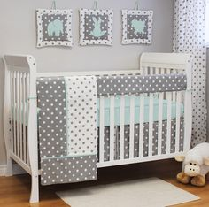 Polka Dot Crib Bedding from @sweetkylababy - Aqua and gray are a match made in nursery heaven!