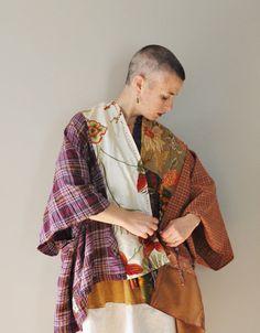 Tunique KIMONO Upcycled personnalisé Wrap/Petite Plus taille Boho Kimono envelopper avec Kanji
