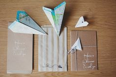 paper air plane wedding invitations. I've been wanting to do something with those...