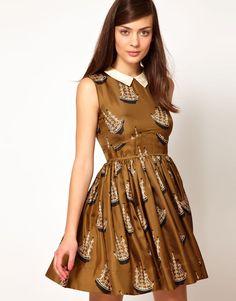 This is beyond amazing: Orla Kiely Dress in Around the World Print Silk Twill