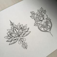 Soyez inspirée avec ce tatoo : Dessins tatouage mandala femme fleur de lotus et rose. Retrouvez tous les modèles, significations de motifs sur tatouagefemme.eu #lotusflowertattoos