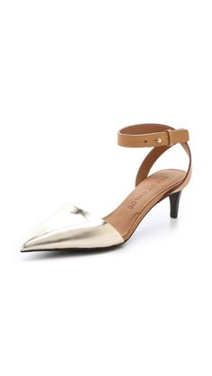cute shoes with low heels are hard to find!  See by Chloe Metallic Point Toe Pumps