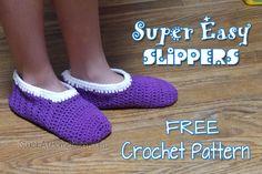 Easiest Crochet Slipper Pattern Ever (until I create another) Easy Crochet Slippers, Crochet Slipper Pattern, Crochet Boots, Crochet Yarn, Free Crochet, Simple Crochet, Crochet Patterns, Crochet Ideas, Yarn Stash