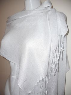 FASHION WOMEN WHITE SILVER SCARF STOLE SCARVES SHAWLS STOLE GIFT NIGHT PARTY  £6.99 free P&P