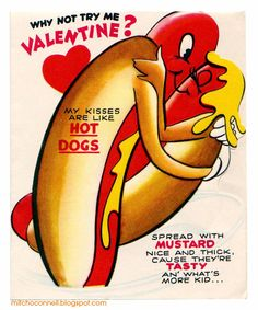 Vintage Valentine-Hot Dog Kisses