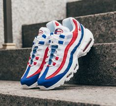 "A brand new Dead-Stock pair of the Nike Air Max 95 ""USA"". A great pair of shoes to show of your American pride, or simply to look fresh! Air Max 95, Nike Air Max, American Pride, Adidas Sneakers, Kicks, Brand New, Pairs, Usa, Collection"