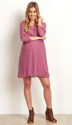 Lavender Chiffon 3 4 Sleeve Maternity Dress