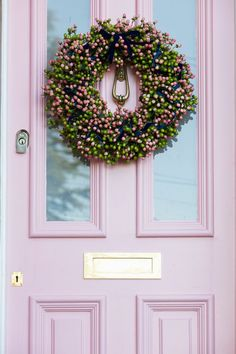 The big Pink House Hogmanay party! — The Pink House Pink hypericum berries wreath on Farrow & Ball Nancy's Blushes pink front door Interior Window Shutters, Black Interior Doors, Boat Interior, Interior Ideas, Front Door Paint Colors, Painted Front Doors, House Front Door, Front Door Decor, Front Porch