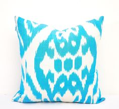 Turqouise pillow cover ikat pillow case by EasternHomeDecor on Etsy https://www.etsy.com/listing/229613185/turqouise-pillow-cover-ikat-pillow-case