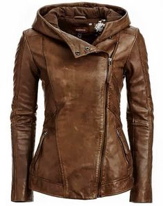 Unique leather hooded jacket