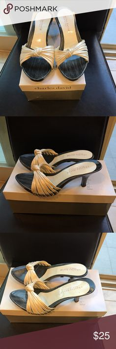 Charles David White Patent Sandals in Women - Sz 6 Pre-owned.  Charles David 1 inch heel sandals. White Patent leather. Charles David Shoes Sandals