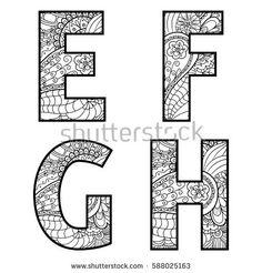 Set of vector big letters with pattern doodle. Doodle Art Huruf, Doodle Alphabet, Printable Alphabet Letters, Alphabet Art, Doodle Drawings, Outline Drawings, Doodle Lettering, Graffiti Lettering, Letter Patterns