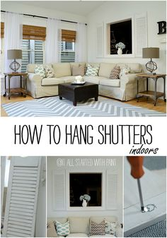 How To Hang Shutters Indoors DIY Project - Easy Tutorial on How To Hang Salvaged Shutters Indoors Indoor Shutters, Old Shutters, Shutter Decor, Home Office Decor, Home Decor, Office Ideas, Modern Office Design, Home Design Plans, Trendy Home